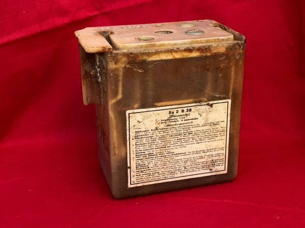 German electrical battery with paper label and some stamp markings, nice condition found on a brocante in Arras used by the Wehrmacht in the battle of France May-June 1940 or the occupation and the Atlantic wall