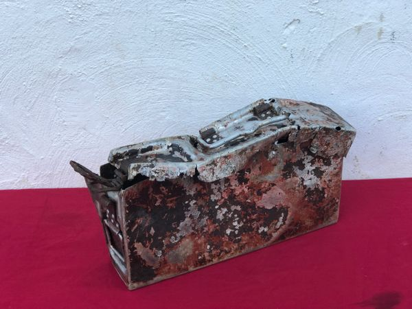 German mg 34 early war aluminium made ammunition tin, battle damaged with some original black and red paintwork it is dated 1940, waffen stamped recovered near Ancona on the Gothic Line in Italy 1944 battlefield