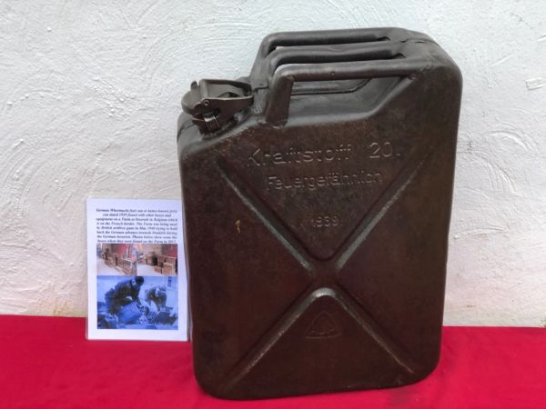 German Fuel can the famous Jerry can maker marked ABA dated 1939,original black paintwork found in 2017 on Farm at Doornik in Belgium used by British artillery guns 1940 defending Dunkirk