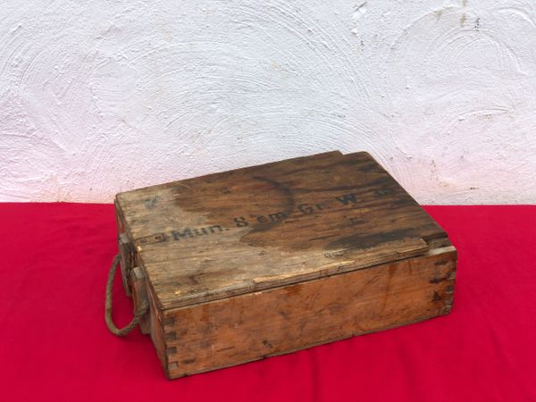 German wooden crate for 8cm mortar 3 shell ammunition box with markings ,paper label dated 1944 from a local brocante in Bras a village just outside Bastogne from the Bulge battle 1944-1945