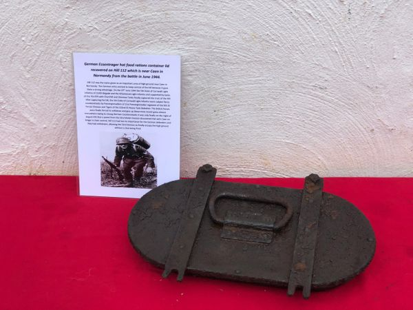 German Essentrager hot food rations container lid recovered on Hill 112 the battle in operation Epsom on the Normandy battlefield of 1944