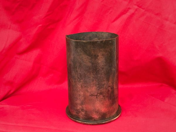 German brass shell case cut down dated 1937 with markings for 10cm Kanone 18 field gun found on a brocante in Arras used by the Wehrmacht in the battle of France May-June 1940 or the Atlantic wall