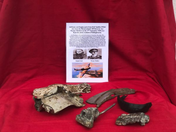 Group of airframe and engine parts, nice clean relics lots of original colour from RAF Spitfire P9364 shot down by Messerschmitt 109 flown by Ace Werner Molders on the 27th September 1940 crashed at Hollingbourne