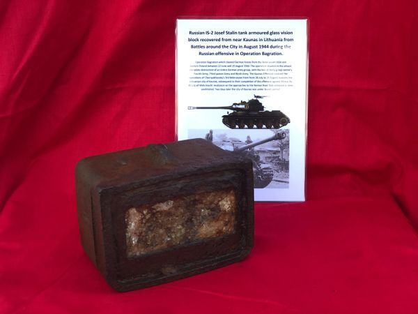 Russian IS-2 Josef Stalin tank armoured glass vision block still mounted in its armoured case recovered from Kaunas in Lithuania from Battles around the City in August 1944 during the Russian offensive in Operation Bagration