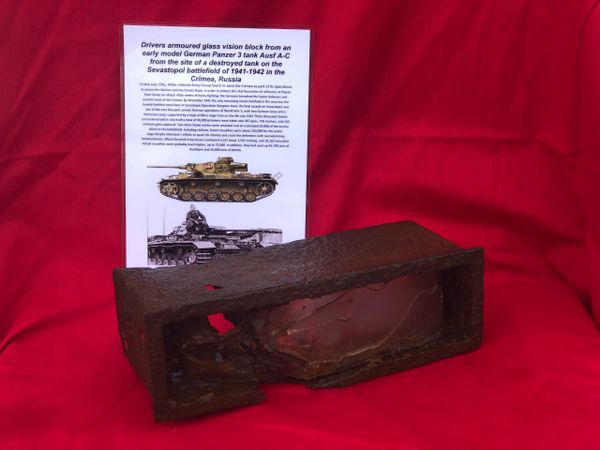 Drivers armoured glass vision block from German Panzer 3 Tank Ausf A-C recovered from the site of destroyed tank in Sevastopol the battlefield of the Crimea 1941-1942 in Russia