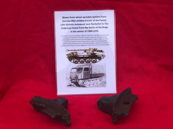 German blown sections of front wheel sprocket from RSO artillery tractor recovered near Rochefort which was a village attacked by the Panzer Lehr division on the 23rd December 1944,The Ardennes