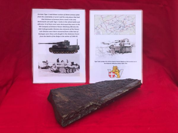 German Tiger 1 tank nice section of 26mm armour plate from the underbelly or turret roof, fantastic condition relic recovered from a Lake East of Bastogne from battle of the Bulge winter 1944-1945