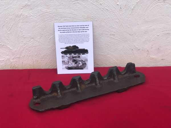 Track link ice cleat nice relic condition, well cleaned from a destroyed Russian T34 tank of the 3rd Shock Army recovered from Wandlitz near Berlin the April 1945 battle for the city
