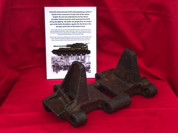 Track link from Russian SU76 self propelled gun of the 1st Guards Army recovered in Carzig south of the Seelow heights the area was defended by German Panzer Grenadier Division Kurmark, battle of 16-19 April, Defense of Berlin