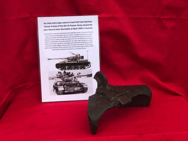 Early war first pattern design ice cleat with maker markings from track link used by German panzer 4 tank of the 6th SS Panzer Army recovered from the battlefield outside Vienna in April 1945