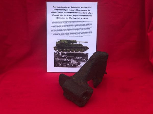 Blown track link section from Russian SU76 self-propelled artillery gun recovered from Plota,near Prokhorovka on the battlefield at Kursk in Russia