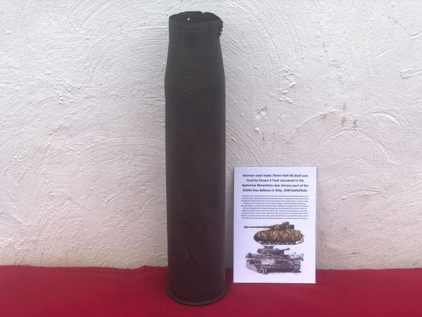 Rare German near complete with impact holes and brass wash remains steel shell case 7.5cm KwK40 fired by a Panzer 4 Tank recovered in the Apennine Mountains near Ancona part of the Gothic line defence in Italy 1944 battlefield in Italy