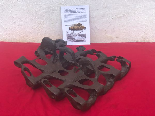 3 Track links all still connected type 6A 1942 pattern from German Panzer 4 tank track recovered in the Apennine Mountains near Ancona part of the Gothic line defence in Italy 1944 battlefield