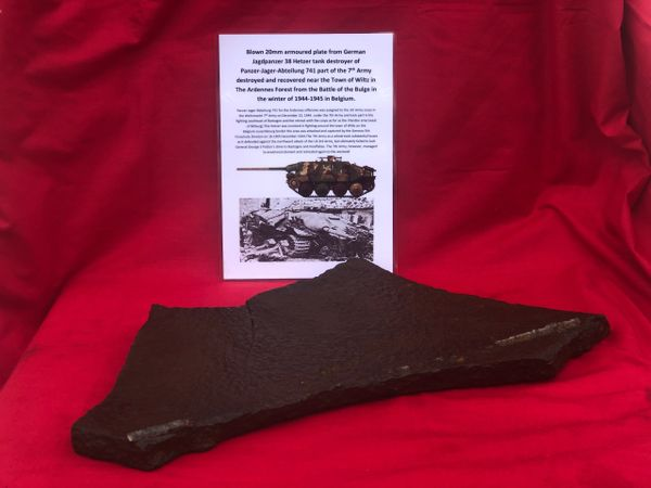 Blown large section of 20mm armoured plate from German Jagdpanzer 38 Hetzer tank destroyer from panzer Jager Abteilung 741 in the 7th Army destroyed in December 1944 near the town of Wiltz in the Ardennes Forest