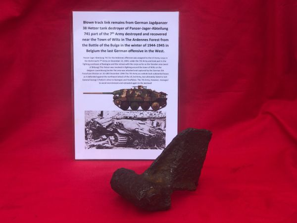 Blown section of track link from German Jagdpanzer 38 Hetzer tank destroyer from panzer Jager Abteilung 741 in the 7th Army destroyed in December 1944 near the town of Wiltz in the Ardennes Forest