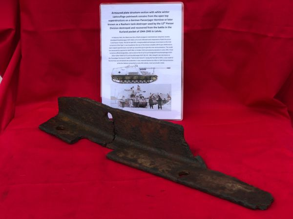 Armoured plate structure section with lots of original white winter camouflage paint, front of the open top superstructure from a German Nashorn tank destroyer used by the 12th Panzer Division recovered in the Kurland Pocket 1944-1945 battle in Latvia