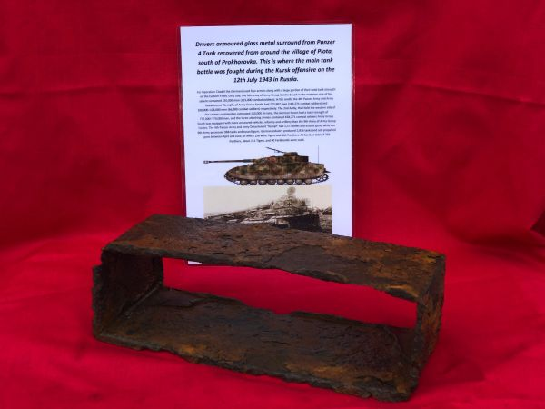Drivers armoured glass vision block remains used by German Panzer 4 tank recovered from Plota, near Prokhorovka on the battlefield at Kursk in Russia 1943
