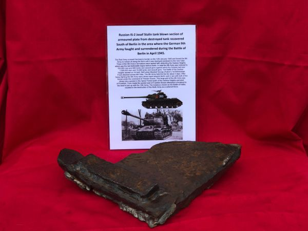 Russian IS-2 josef stalin tank large ripped section of 20mm armoured plate, nice shiny weld recovered from the site of a destroyed tank which is South of Berlin in the area the German 9th Army fought, surrendered in April 1945 during the battle of Berlin