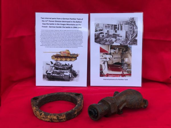 2 internal parts with white internal paintwork remains from German Panther Tank of the 11th Panzer Division destroyed in the Belfort Gap the battle in the Vosges Mountains on the French - German border the battle in 1944-1945