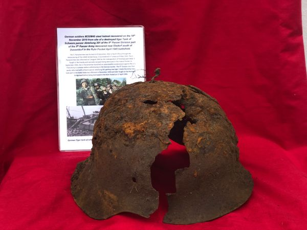 German soldiers M35/M40 steel helmet, very relic condition recovered on the 18th November 2019 from the site of destroyed Tiger 1 tank of Schwere Panzer Abteilung 301,9th Panzer Division recovered near Elsdorf,Ruhr Pocket April 1945