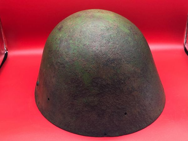 Very rare Czechoslovakian M32 steel helmet re used by the Germans, semi relic condition restoration project recovered from the Demyansk Pocket near Leningrad in Russia 1941-1942