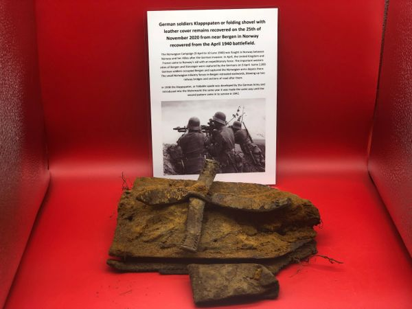 Rare to find German soldiers Klappspaten or folding shovel with leather cover remains recovered on 25th November 2020 recovered near Bergen in Norway the April 1940 battlefield during the German invasion