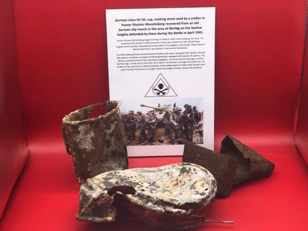 German mess tin lid, cup, cooking stove all in nice relic condition used by soldiers of Panzer Division Muncheberg recovered from an old Slip trench in the Werbig area on the Seelow heights defended by them on the April 1945 battlefield