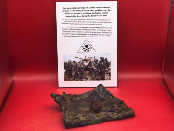 Rare German soldiers personal item a leather pouch or wallet used by soldier of Panzer Division Muncheberg recovered from an old German Slip trench in the Werbig area on the Seelow heights this was the area defended by them, April 1945 battlefield