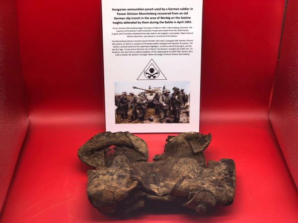 Rare to find Hungarian ammunition pouch dated 1929 used by soldier of Panzer Division Muncheberg recovered from an old German Slip trench in the Werbig area on the Seelow heights this was the area defended by them during the April 1945 battlefield 8