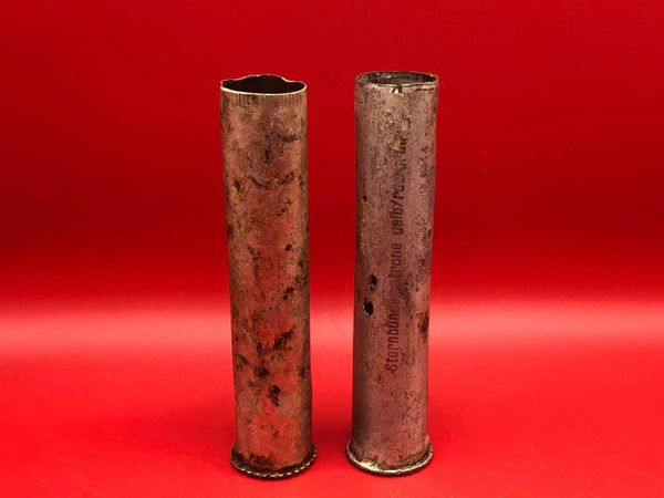 Pair of German large flare cases one maker marked one with blue stripesused by the German 212 Volksgrenadier-Division recovered near town of osweiler, Luxemburg from the battle of the Bulge 1944-1945