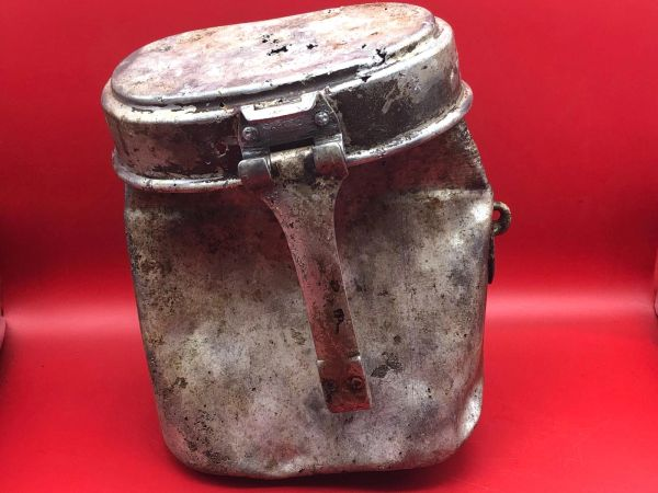 German soldiers aluminium mess tin early war production, lid dated 1940 with impact hole used by German soldier of 212 Volksgrenadier-Division recovered near town of osweiler, Luxemburg from the battle of the Bulge 1944-1945