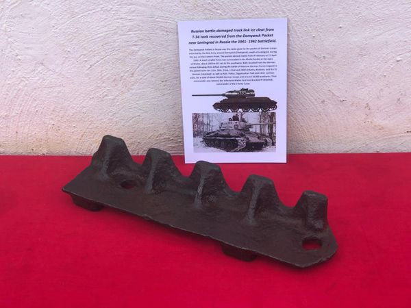 Track link ice cleat nice relic condition which is not complete battle damaged blown in half from destroyed Russian T34 tank recovered from the Demyansk Pocket near Leningrad in Russia 1941-1942 battlefield
