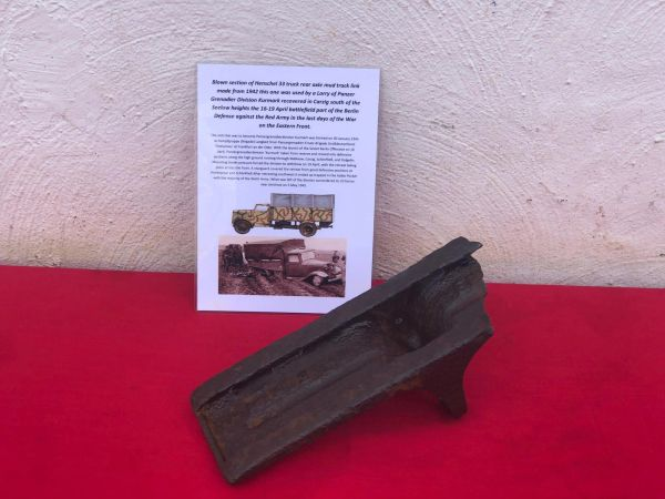 Mud track link made from 1942 blown in half well cleaned relic used by German Henschel 33 truck used by Panzer Grenadier Division Kurmark recovered in Carzig south of the Seelow Heights the April 1945 battlefield