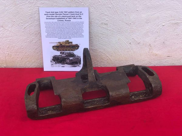 Rare very early war German track link type 3 [A] 1941 pattern with maker markings used by Panzer 3 Tank recovered from Sevastopol the battlefield of the Crimea in 1942,Russia