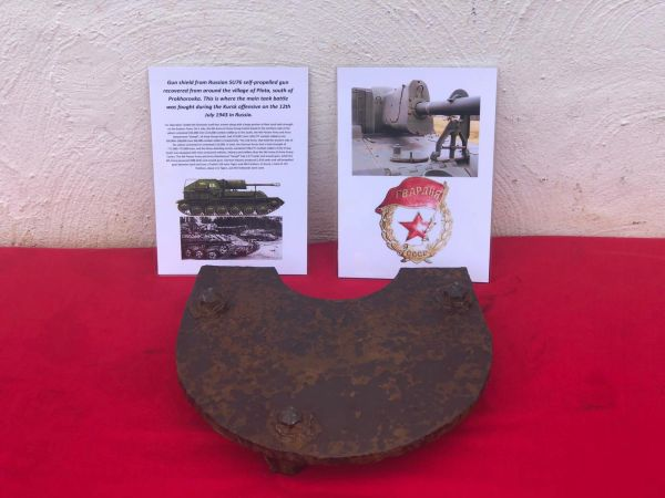 Gun shield used by Russian SU76 self propelled gun recovered from around the village of Plota, south of Prokhorovka. This is where the main tank battle was fought during the Kursk offensive on the 12th of July 1943 in Russia