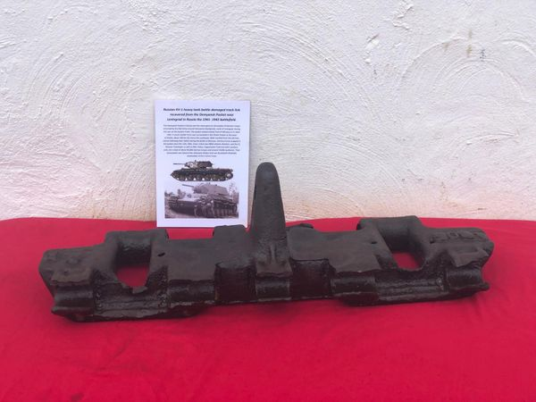 Rare battle-damaged track link with maker markings from Russian KV-1 heavy tank recovered from the Demyansk Pocket near Leningrad in Russia 1941-1942 battlefield