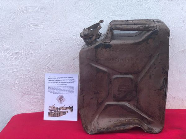 German Wehrmacht Fuel can the famous Jerry can dated 1943,maker marked battle damaged used by the 9th army recovered from near a lake south of Berlin in the area where the fought and surrendered to the Russians during the battle of the Berlin 1945