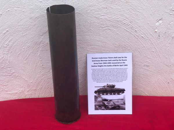 Russian made brass 75mm shell case for the lend lease Sherman tank in nice relic condition with original markings used by the Russia Army from 1944-1945 recovered on the Seelow heights battle of berlin April 1945