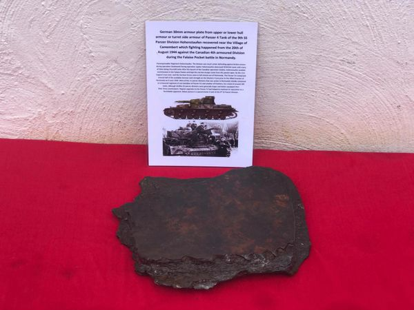 German 30mm armour plate from upper or lower hull armour or turret side armour of Panzer 4 tank of the 9th SS Panzer division Hohenstaufen recovered near the village of Camembert from the battle of 20th August 1944 in the Falaise Pocket in Normandy