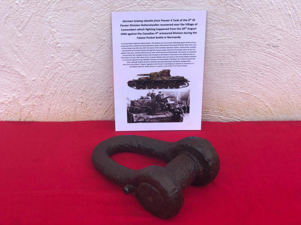 German towing shackle, nice condition relic used by Panzer 4 tank of the 9th SS Panzer division Hohenstaufen recovered near the village of Camembert where fighting happened from 20th August 1944 in the Falaise Pocket in Normandy