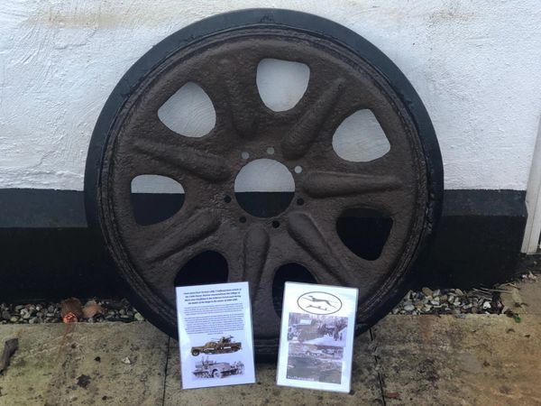 Track wheel,nice relic condition relic,some original paintwork with its complete tyre maker marked used by German sdkfz 7 half track of the of the 116th Panzer Division recovered from near Houffalize in the Ardennes forest 1944-1945
