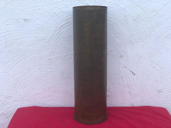 American brass shell case nice condition original brass colour and markings dated 1943 M101 for the 105mm howitzer from a local brocante in Bras a village just outside Bastogne from the Bulge battle 1944-1945