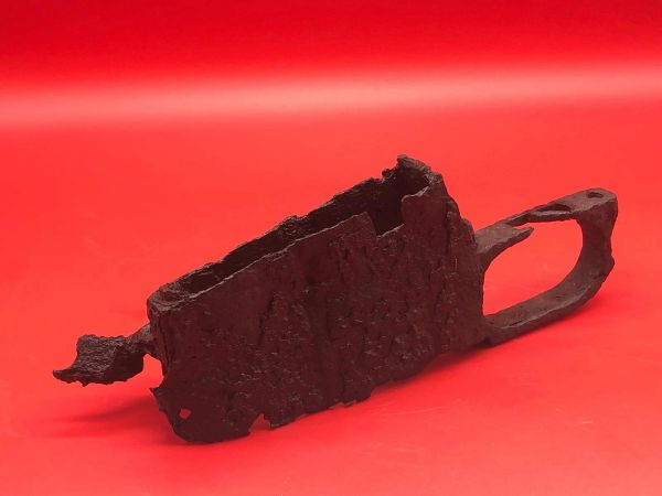 Russian mosin nagant rifle trigger-magazine part, battle damaged used by a soldier of the 3rd Shock Army recovered near district of Pankow in North Berlin captured by them on 23rd April 1945 during the Battle for the city