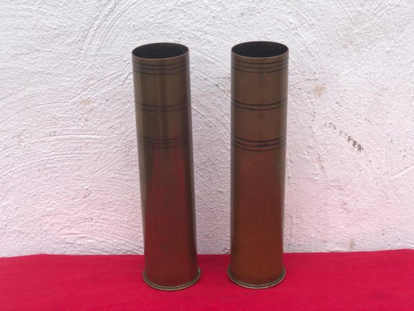 Rare to find British matching pair of trench art brass shell cases cut down rare pre war stock dated 1902-1904 for the 3 Pounder Naval anti-aircraft gun found on the Somme battlefield 1916-1918
