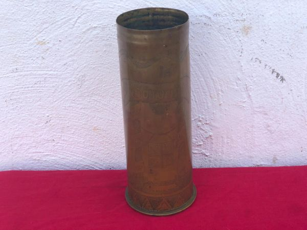 Rare souvenir of war design with all war years on German 77mm trench art shell case dated February 1915 found on the Somme battlefield 1916-1918