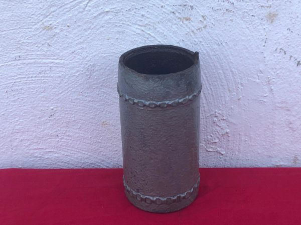German steel shell case,very nice condition over painted gray with brass driving bands for 9cm Kanone 1873 field gun recovered on the Somme battlefield 1916-1918