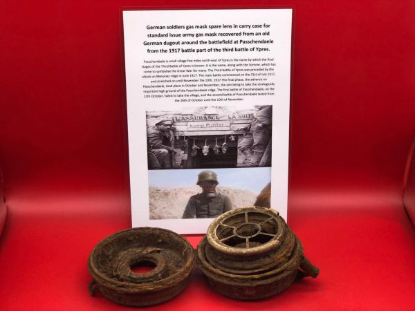 Very rare German soldiers gas mask spare lens in carry case for standard issue gas mask recovered from an old German dugout around the battlefield at Passchendaele from the 1917 battle part of the third battle of Ypres.