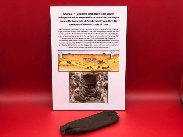 Fantastically rare German TNT explosive cardboard holder used in underground mines nice solid condition completely empty recovered from an old German dugout around the battlefield at Passchendaele from the 1917 battle part of the third battle of Ypres.