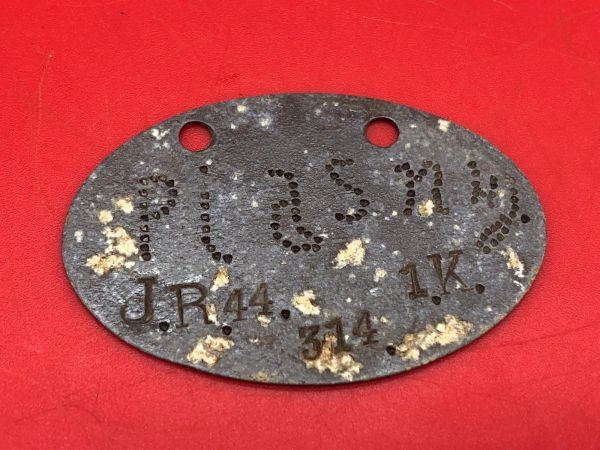 Very rare German complete dog tag 1878 pattern for soldier in Jager Regiment 44 in the 2nd Division,18th Army the tag was recovered near Saint Quentin which was attacked in March 1918 by them during the Spring offensive