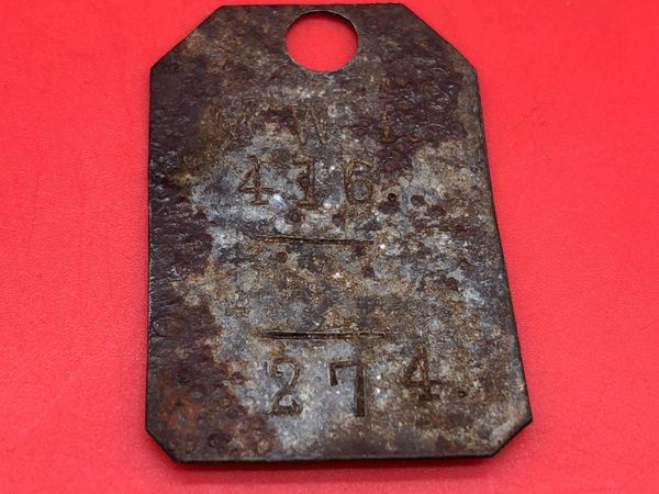 Very rare German soldiers complete dog tag for minenwerfer Company 416 recovered 2014 from pit of buried equipment near the village of Gueudecourt this area was defended by the 2nd Royal Bavarian Division during the battles of September 1916 on the Somme
